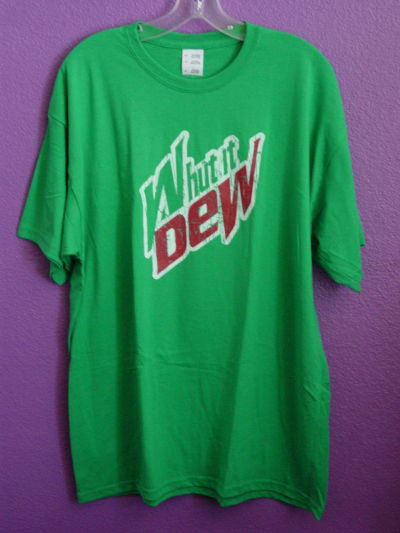 "sleeve T-Shirt featuring a fresh rework of the ""Mountain Dew"" logo."